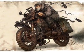 Wallpaper warrior, art, bike, Michal Kus, Warlord Biker