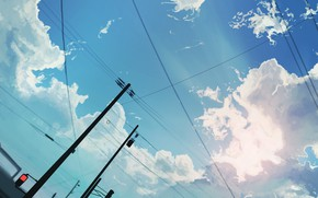 Picture the sky, clouds, traffic light, power lines
