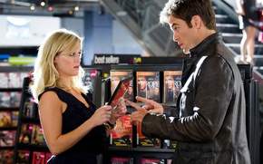 Picture girl, surprise, jacket, blonde, male, shop, Chris Pine, Chris Pine, Reese Witherspoon, Reese Witherspoon, Means …