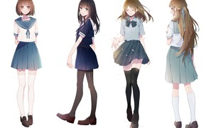 Picture style, Girls, anime, White background