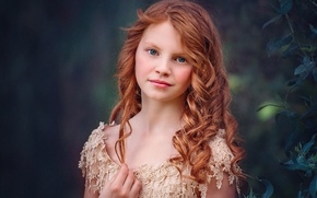 Picture portrait, girl, red, bokeh, Edie Layland, Blue Ginger