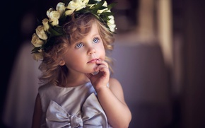 Picture look, child, dress, girl, bow, wreath, baby, rose white