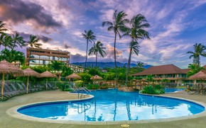 Picture the sky, clouds, landscape, mountains, palm trees, the evening, pool, Hawaii, the hotel, resort, Maui