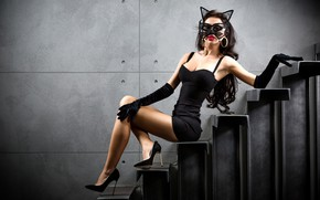 Picture girl, sexy, pose, wall, makeup, figure, dress, brunette, mask, hairstyle, ladder, shoes, stage, gloves, sitting, …