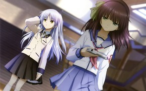 Picture gun, corridor, Schoolgirls, art, opponents, Kanade Tachibana, tenshi, Shiina, Angel Beats!, Key, rival, Angel Beast!