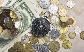 Picture money of different countries, compass, dollars, detail, money