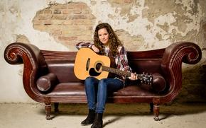 Wallpaper music, guitar, girl, sofa