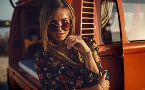 Wallpaper makeup, bokeh, car, brown hair, pose, portrait, model, dress, river, the sun, glasses, girl, beautiful, ...