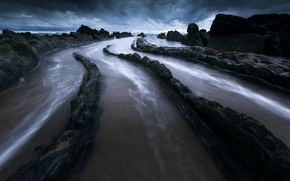 Picture sea, the sky, clouds, nature, rocks, Barrika