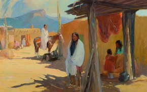 Picture Taos Pueblo, Oscar Edmund Berninghaus, Morning Shade