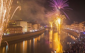 Picture lights, river, holiday, home, salute, Italy, fireworks, Pisa, Tuscany, festival, Arno