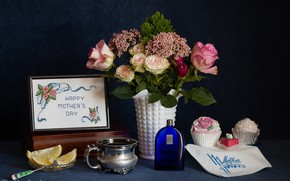 Picture lemon, roses, bouquet, cakes, embroidery, Mother's day
