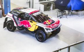 Picture Auto, Machine, Speed, Peugeot, Red Bull, Rally, Dakar, Dakar, SUV, Rally, DKR, 3008, Peugeot 3008 …