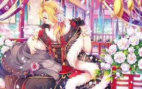 Picture flowers, anime, art, guy, Touken ranbu