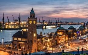 Picture night, lights, tower, home, crane, Germany, port, Hamburg