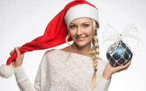 Picture smile, holiday, hat, toy, new year, ball, Christmas, makeup, hairstyle, blonde, white background, maiden, decoration, …