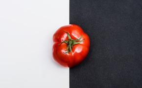 Wallpaper black, tomato, white, black and white, tomato, red, minimalism