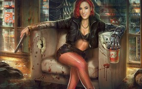 Picture girl, gun, weapons, chair, corpses, mechanical hand, the Bounty, Jude Smith