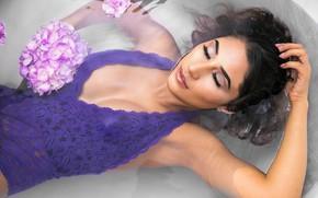 Picture flowers, face, relax, model, makeup, bath, legs