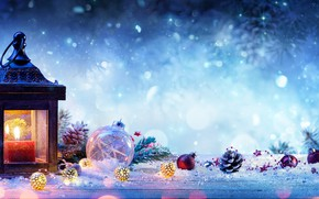 Wallpaper snow, branches, holiday, candle, spruce, flashlight, lantern, New year, bumps, Christmas decorations, New Year, celebration, ...