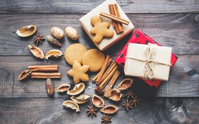 Picture new year, cookies, gifts, nuts, cinnamon, cakes
