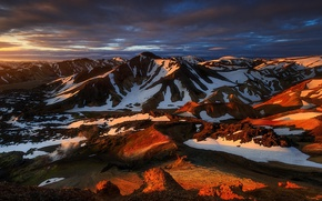 Picture the sky, clouds, light, snow, mountains
