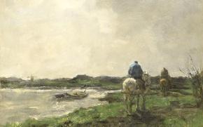 Picture landscape, oil, picture, canvas, Jacob Maris Hendrikus, Towing