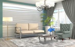 Wallpaper flower, design, furniture, interior, chandelier, living room