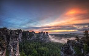 Picture Saxon Switzerland, Sandstone mountains, sunset, Bastei, Germany
