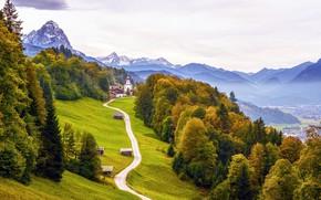 Picture road, autumn, trees, mountains, rocks, home, Germany, valley, Bayern, Alps, Church, Garmisch-Partenkirchen