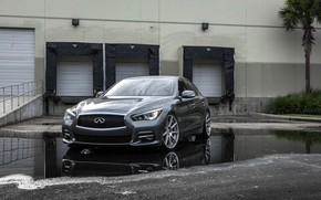 Picture Infiniti, Water, Gray, Reflection, Q50, 3/4