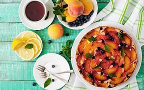 Picture berries, lemon, tea, the sweetness, fruit, cakes, fruit pie