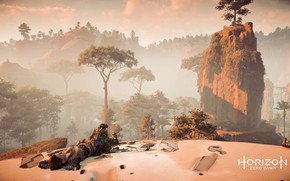 Picture Nature, Girl, Mountains, Robot, Trees, Fur, PS4 Pro, Horizon Zero Dawn, Eloy, SonyPlaystation