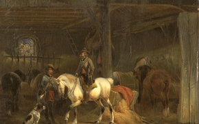 Picture animals, tree, horse, oil, dog, picture, Joseph Moerenhout, Stable