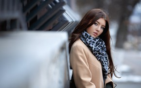 Picture look, girl, portrait, makeup, scarf, hairstyle, brown hair, beautiful, coat, bokeh