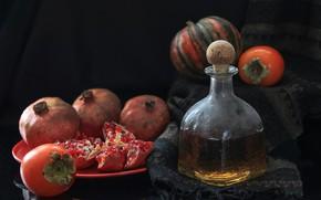 Picture fruit, still life, whiskey, autumn.