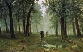 Picture landscape, people, picture, umbrella, Ivan Shishkin, Rain in an Oak Forest