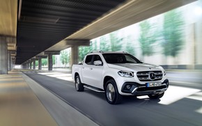 Picture road, white, the city, movement, Mercedes-Benz, blur, pickup, 2017, X-Class