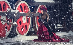 Picture winter, girl, snow, style, the engine, the situation, dress, plea, Anna Karenina, Anna Djibouti