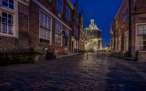 Picture night, lights, street, home, Netherlands, Enkhuizen