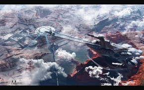 Picture landscape, planet, station, The White base
