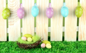 Picture grass, Board, the fence, eggs, spring, Easter, socket, grass, Easter, painted, eggs, Holidays, planks