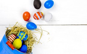 Picture holiday, eggs, Easter, socket, bucket, straw, Easter, eggs