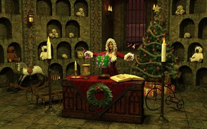 Picture girl, Christmas, skull, witch