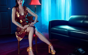 Wallpaper light, room, sofa, makeup, dress, actress, brunette, window, hairstyle, shoes, lies, curtains, phone, legs, beauty, ...