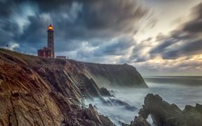 Picture sea, fog, shore, lighthouse