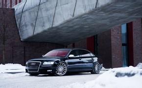 Picture Audi, Beautiful, Winter, Black, Snow, VAG