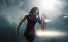 Picture cinema, sword, Wonder Woman, armor, movie, ken, blade, cosplay, brunette, film, shield, warrior, DC Comics, …