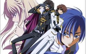 Picture look, gloves, guys, blue hair, military uniform, Renegade Akito, Akito the Exiled, Suzaku Kururugi, Leila …