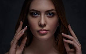 Picture look, face, background, model, portrait, hands, makeup, hairstyle, brown hair, beauty, manicure